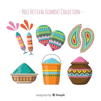 Collection d'éléments de fesival holi dessinés à la main