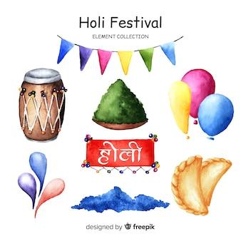 Collection d'éléments de festival holi dessinés à la main