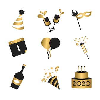 Collection d'éléments de fête design plat nouvel an