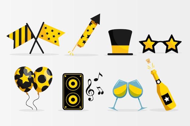 Collection d'éléments de fête du nouvel an au design plat
