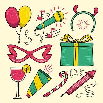 Collection d'éléments de fête du nouvel an dessinés à la main
