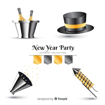 Collection d'éléments de fête du nouvel an réaliste