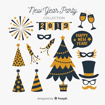 Collection d'éléments de fête du nouvel an