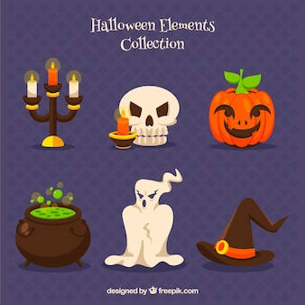 Collection éléments de la fête d'halloween