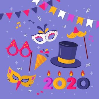 Collection d'éléments de fête de nouvel an au design plat