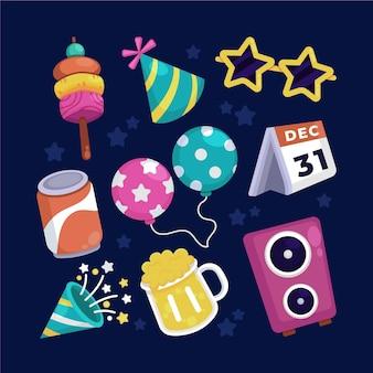 Collection d'éléments de fête de nouvel an design plat