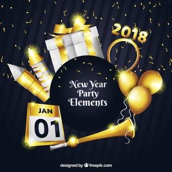 Collection d'éléments de fête de nouvel an réaliste avec des détails dorés