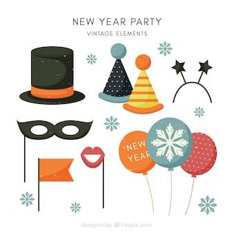 Collection d'éléments de fête de nouvel an vintage avec des flocons de neige