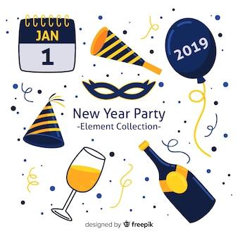 Collection d'éléments de fête pour le nouvel an 2019