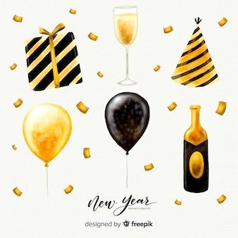 Collection d'éléments de fête pour le nouvel an à l'aquarelle