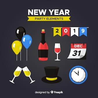 Collection d'éléments de fête pour le nouvel an avec un design plat