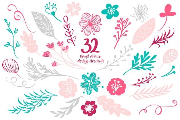 Collection d'éléments avec feuilles et fleurs pour cartes de vœux