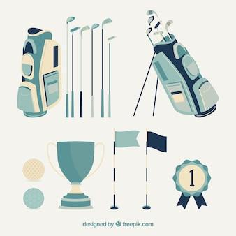 Collection d'éléments de golf bleu