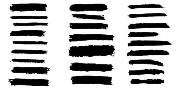 Collection d'éléments graphiques dessinés à la main de brosse de vecteur. ensemble de coups de pinceau vectoriel isolé sur fond blanc. illustration vectorielle.