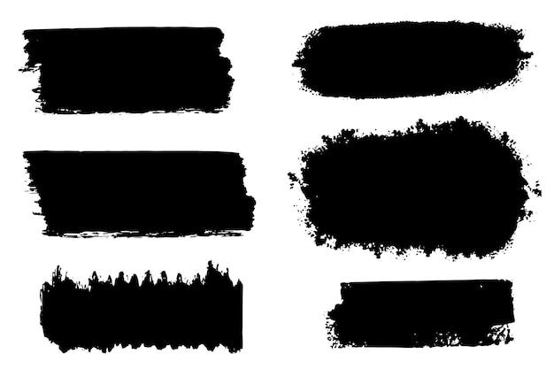 Collection d'éléments graphiques dessinés à la main de brosse de vecteur. ensemble de coups de pinceau vectoriel isolé sur fond blanc. vecteur