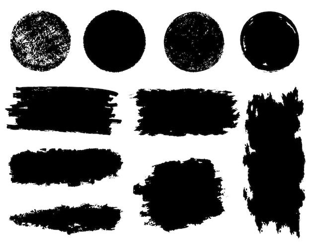 Collection d'éléments graphiques dessinés à la main de brosse de vecteur. ensemble de coups de pinceau vectoriel isolé sur fond blanc.