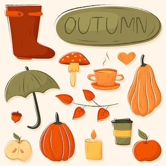 Collection d'éléments de griffonnage d'automne isolés dans des couleurs chaudes et confortables.