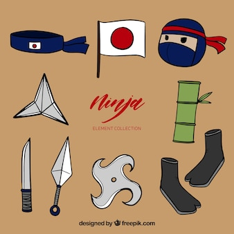 Collection d'éléments de guerrier ninja dessinés à la main