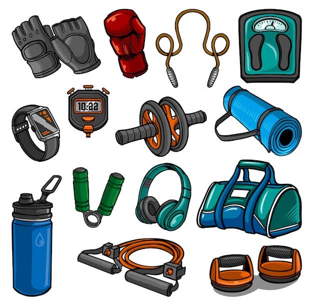 Collection d'éléments de gym