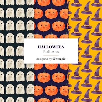 Collection d'éléments d'halloween à l'aquarelle
