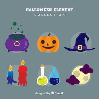 Collection d'éléments d'halloween au design plat
