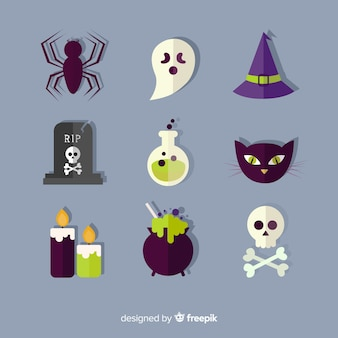 Collection d'éléments de halloween coloré avec un design plat