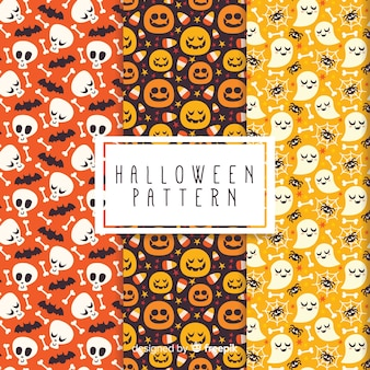 Collection d'éléments de halloween dans un design plat