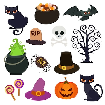 Collection d'éléments de halloween dans un style plat