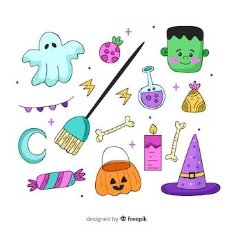 Collection d'éléments halloween avec un décor fantasmagorique