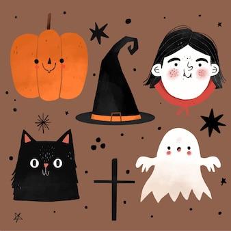 Collection d'éléments halloween design dessiné à la main
