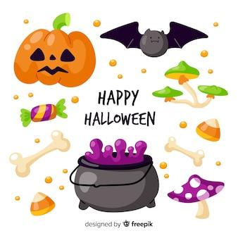 Collection d'éléments halloween design plat
