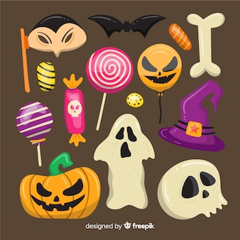 Collection d'éléments halloween sur design plat