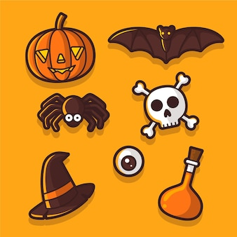 Collection d'éléments d'halloween design plat