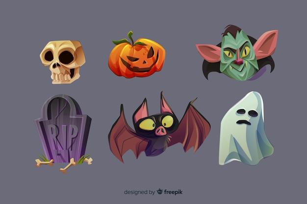 Collection d'éléments d'halloween de dessin animé réaliste