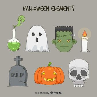 Collection d'éléments d'halloween dessinés à la main classique