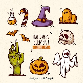 Collection d'éléments de halloween dessinés à la main colorée