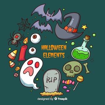 Collection d'éléments de halloween dessinés à la main colorée