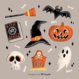 Collection d'éléments de halloween dessinés à la main avec des décorations