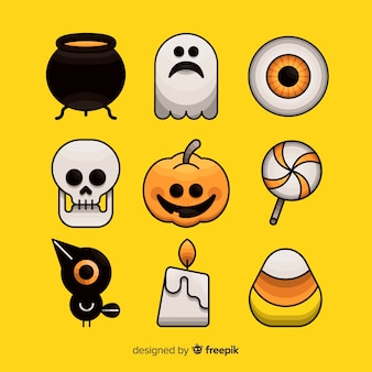 Collection d'éléments d'halloween dessinés à la main sur fond jaune
