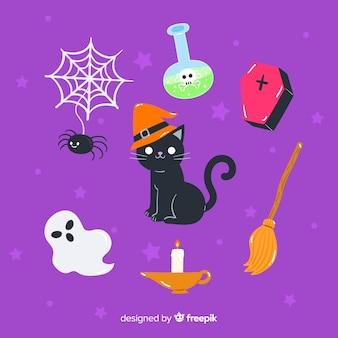 Collection d'éléments d'halloween dessinés à la main avec minou au centre