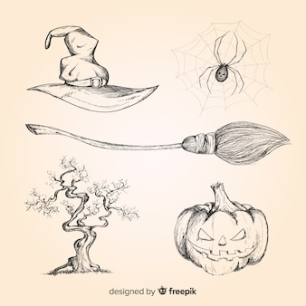 Collection d'éléments halloween dessinés à la main réaliste