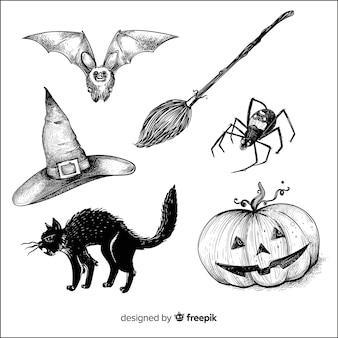 Collection d'éléments halloween dessinés à la main réaliste