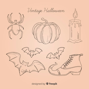Collection d'éléments d'halloween dessinés à la main