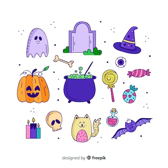 Collection d'éléments d'halloween dessinés à la main