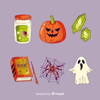 Collection d'éléments de halloween dessinés à la main
