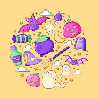 Collection d'éléments halloween dessinés à la main
