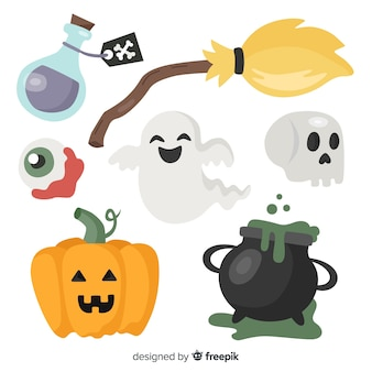 Collection d'éléments halloween originale avec un design plat