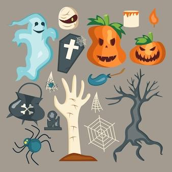 Collection d'éléments halloween plats dessinés à la main