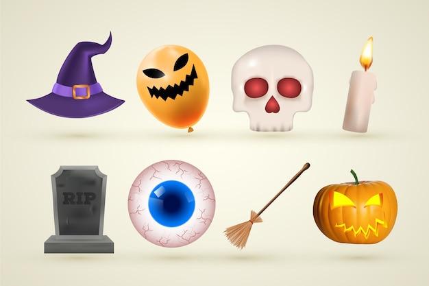 Collection d'éléments d'halloween réalistes