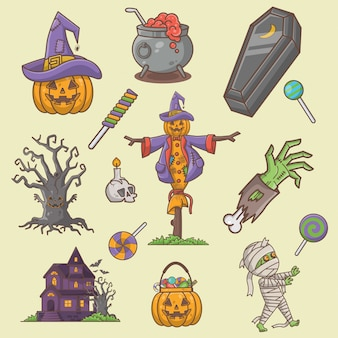 Collection d'éléments halloween